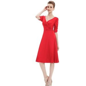Dresses & Skirts - 3/4 Sleeve Ruched Waist Classy V-Neck Casual Dress